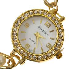 Reloj De Pulsera De Cuarzo mujeres Cristal Analógico Oro Y Perla Cadena Cuarzo Reloj Pulsera