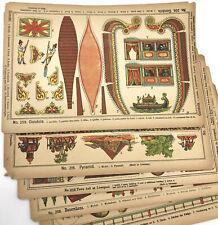 Antique Uncut Model Sheet x 5 Chromolithographic Pyramid Zoo Farmhouse Germany