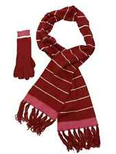 Womens Red & Pink Stripe 2PC Set Scarf & Gloves