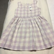 NWT GAP GIRLS LINED DRESS SZ 4 WHITE AND LAVENDER CHECK