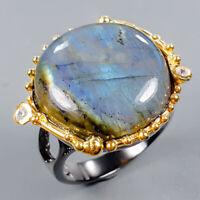 Labradorite Ring Silver 925 Sterling Vintage20ct+ Size 7.5 /R130783