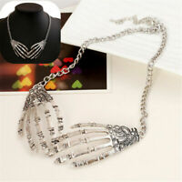 Punk Gothic Skull Hand Skeleton Choker Necklace Pendant Statement Chain Gifts