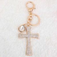 Cross Pendant Keyring Keychain Key Fob Bag Purse Charm Rhinestone Crystal
