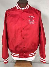 Vintage Red Satin Nylon Bowling Jacket Royal Z Lanes 700 Club Ohio Adult Size XL