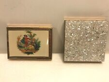 TWO ZELL FIFTH AVENUE COMPACTS, 1) WHITE/PINK CONFETTI & 2) COURTING COUPLE