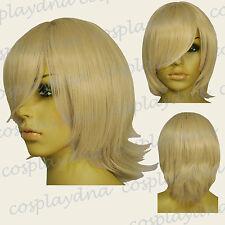 16 inch Hi_Temp Beige Blonde Long Layered Flip Short Cosplay DNA Wigs 63086
