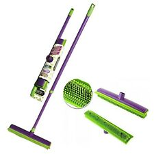 Indoor Rubber Bristle Broom Soft Brush Long Handle Household Cleaning UK Stock