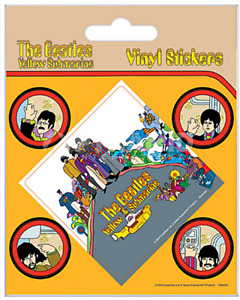 Confezione Di 5 The Beatles Yellow Submarine Vinile Adesivi/Decalcomania ( Py )
