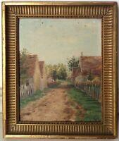 Tableau Impressionnisme Ancien Paysage Chemin de Village Huile Gout PISSARRO