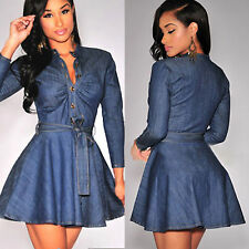 Women Denim Jeans Shirt Dress Long Sleeve Jumper Cocktail Clubwear Mini Dresses