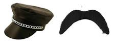 Black PVC Leather Look YMCA Hat Chain Gay Village 80s Biker ( Hat & Moustache )