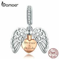 BAMOER Forever Family Dangle S925 Sterling silver CZ Charm Fit European Bracelet