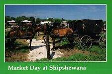 Market Day at Shipshewana Indiana, Parked Horse and Buggy, In - Animal Postcard