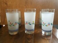 Vintage drinking Glass Tumblers Flowers ( set of 6 ) 16 oz glasses spring