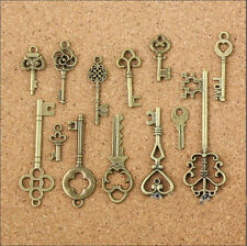 26pc Antique Bronze Key to My Heart Charms Alloy Pendants Jewelry Craft Findings