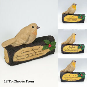 Lovely Robin On Log Christmas Ornaments With Verse Graveside Family Tribute