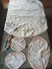 Linen doilys antique handmade textile fabric lot