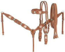 Leather Wide Brow Headstall - Breastcollar - Rein Set - Turquoise Cross