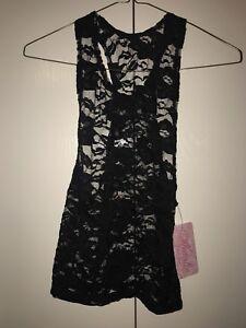 New!  Black Natalie lace dance top shirt.  Girls Child Medium