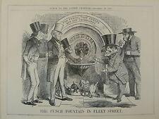 """7x10 """"punch Cartoon 1859 le punch Fontaine de Fleet Street"""