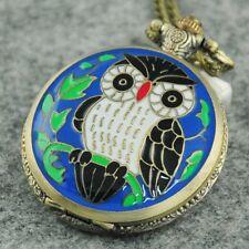 Vintage Sharp Blue Owl Pocket Watch Fob Pendant Steampunk Necklace