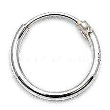 MENS SMALL 925 STERLING SILVER HINGED EAR HOOP/SLEEPER 8mm x 1 SINGLE EARRING