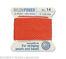 CORAL RED NYLON POWER SILKY THREAD 1.02mm STRINGING PEARLS & BEADS GRIFFIN 14