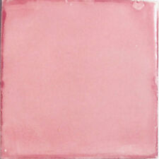 #S19) 9 MEXICAN TILES TALAVERA MEXICO CERAMIC HANDMADE WASHED PINK COLOR
