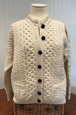 Aran Isles Knitwear Irish Fisherman's Cardigan Sweater Cream Wool Ireland Size S