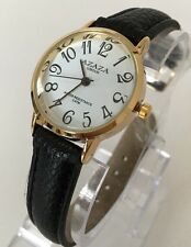 Ladies Women Classic Watch Gold White Dial Black Leather Strap Classic Casual