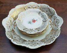 Vintage Antique Cake Plate 20cm + 4 Petit Four 11cm Gilded Floral Plates Bavaria