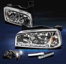 2006-2010 DODGE CHARGER LED CRYSTAL CHROME HEAD LIGHTS LAMP+6000K HID+DRL SIGNAL