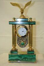 "Clock fireplace malachite ""eagle"", exclusive, Zlatoust masters"