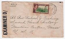 1942 CROSS ROADS JAMAICA BWI Cover CENSOR Cardinal Cushing Boston USA Alvernia