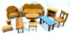 10 Piece Vintage 1940's 50's Handmade Wooden Doll Chair Bench Chair Table Shelve