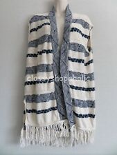Fat Face Blue & Cream Knitted Gilet with Fringe - Size Small  - BNWOT