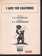 I Love You California  Sheet Music
