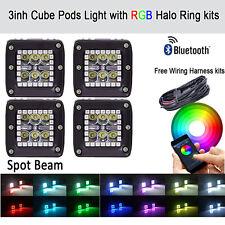 "4x 3"" 24W Led Work Light Square Cube Pods & RGB Halo Strobe Music Bluetooth Kit"