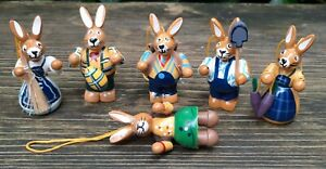 6 Easter Bunny Hares Osterstrauß Decoration Jewelry to Hang Up Wood