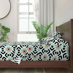 Mint Coral Geometric Retro Southwestern 100% Cotton Sateen Sheet Set by Roostery