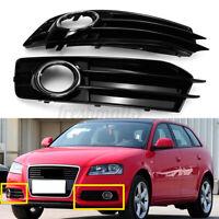 Front Lower Bumper Fog Light Grill Chrome Trim For Audi A3 8P S-Line