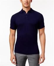 Tasso Elba Men's Cotton Silk Polo NAVY BLUE M NEW Shirt Med Ribbed Patterned