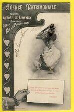 cpa BERGERET PARIS Agence MATRIMONIALE 169 rue du PARADIS Jeune Fille en 1903