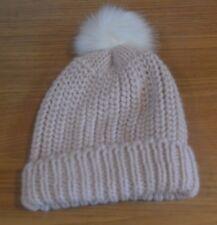 crema a maglia AVENUE Cappello con Pon Pon in Pelliccia Sintetica   4173281bba0a