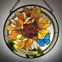 Joan Baker Hand painted Suncatcher-MC306R-Sunflower//IMAGO DEI Art Glass New