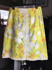 Vintage LA SHACK CESTARO Yellow Floral Print Lace Trim Skirt Size 12 Large