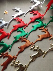 Christmas Decorations reindeer lace trim ribbon CRAFT cards sew on xmas aplique