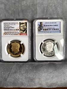2014-W 24K GOLD 3/4 OZ KENNEDY 50TH ANNIVERSARY HIGH RELIEF NGC PF70 UP + 2014s
