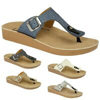 Ladies Slip On Sliders Buckle Flatform Mule Sandals Women Shoes Size 3 4 5 6 7 8