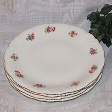 "WAWEL DINNER PLATES SET OF 4 EMBOSSED 9 1/2"" SMALL FLOWERS BOUQUET FLORAL POLAND"